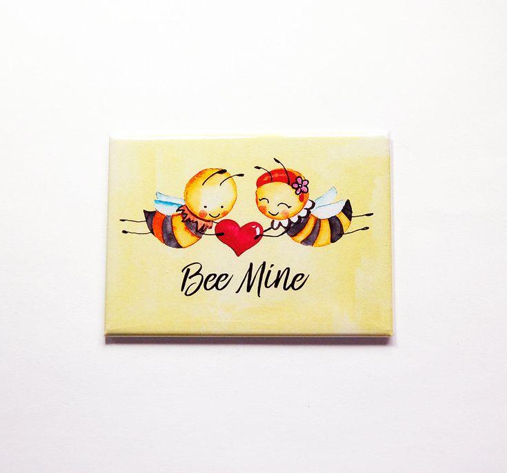 Bee Mine Magnet, Valentines Day magnet, Kitchen magnet, Fridge magnet, Large Magnet, ACEO, Gift for her, Valentines Day gift, Yellow (7177) by KellysMagnets on Etsy