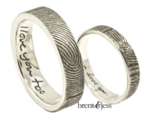 Custom set of rings with a wrapped fingerprint and hand written by you inscriptions - by Brent & Jess Custom Handmade Fingerprint Wedding Rings and Jewelry