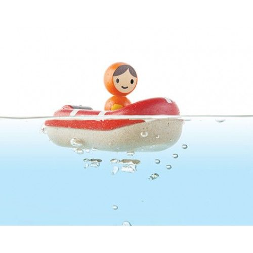 Plan Toys - Coastguard Boat: Protect the shores and rescue those stuck out at sea! Stimulate interactive and imaginative play. Ages 12+ months #alltotstreasures #imaginativeplay #plantoys #coastguardboat #boatplay #plantoysboat