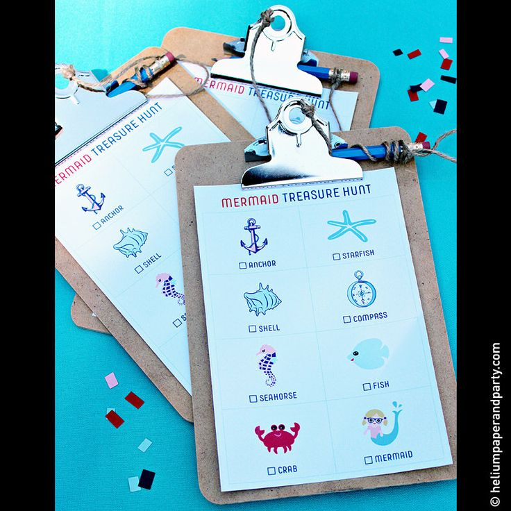 Mermaid / Under The Sea Treasure Hunt Activity Sheets, Mermaid Party Games, Nautical Party Games, Mermaid Printables by heliumpaperandparty on Etsy https://www.etsy.com/listing/205070417/mermaid-under-the-sea-treasure-hunt