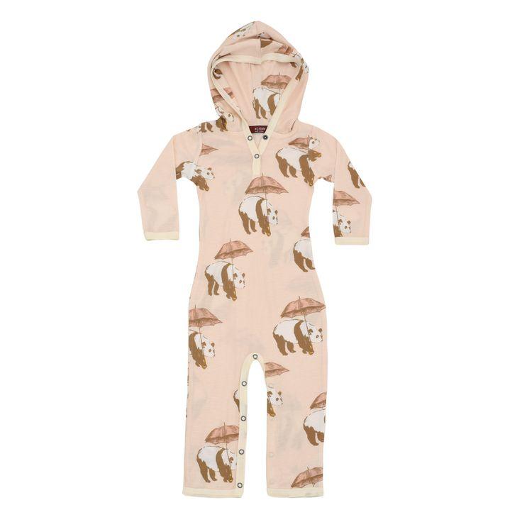 Milkbarn | Bamboo Hooded Romper in Pink Panda