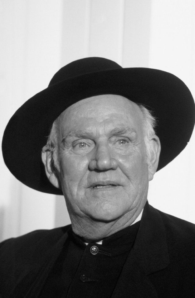 Dabbs Greer (1917 – 2007) was a character actor in many western film and television for some fifty years. His distinctive, southern-accented voice fitted well in shows featuring rustic characters, such as westerns. However, he is probably best remembered as Reverend Alden in Little House on the Prairie.