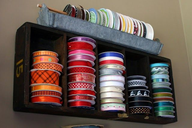 ribbon storageSewing Room, Ribbon Storage, Ribbons Storage, Crafts Room, Old Wood, Wood Boxes, Mamie Jane, Wooden Boxes, Chicken Feeders
