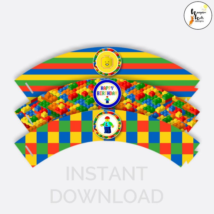 Lego Cupcake Wrappers Instant Download, Lego Cake Wrappers, Lego Party Cake Wrappers, Lego Party, Lego Party Printables, Cupcake Brick