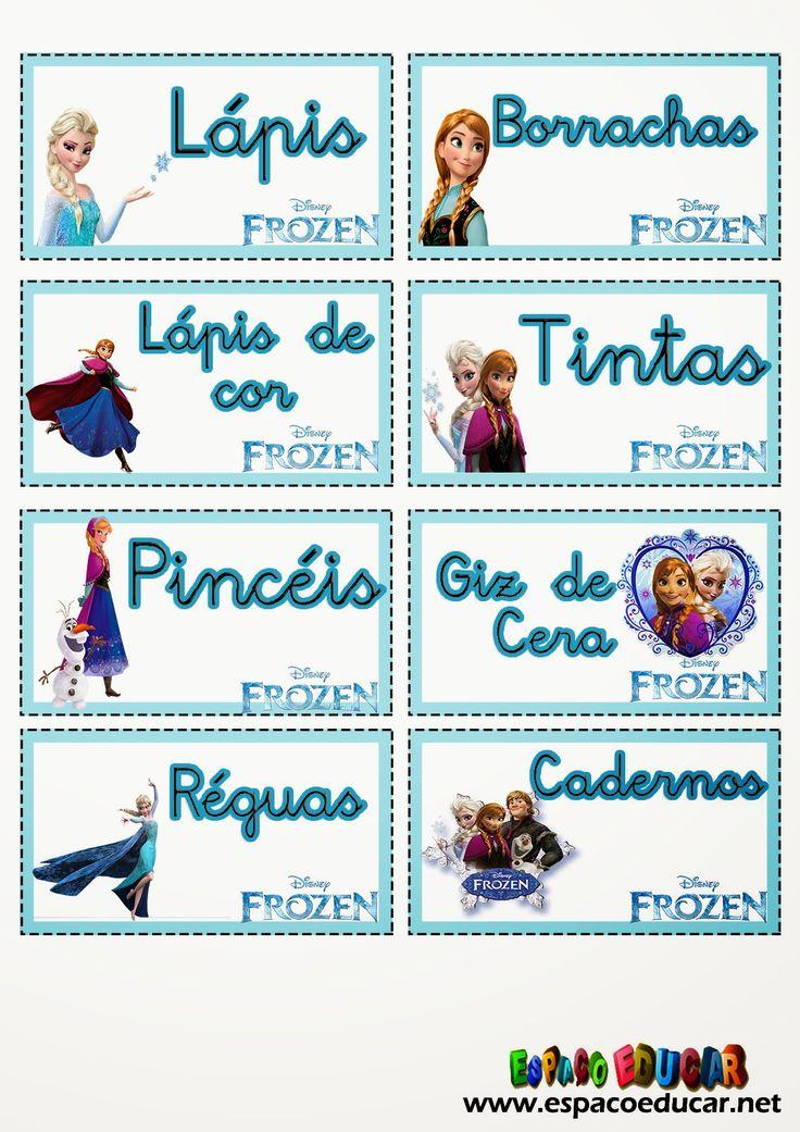 ESPAÇO EDUCAR: Etiquetas lindas com o tema Frozen, uma aventura Congelante, para você imprimir e organizar a sala de aula!