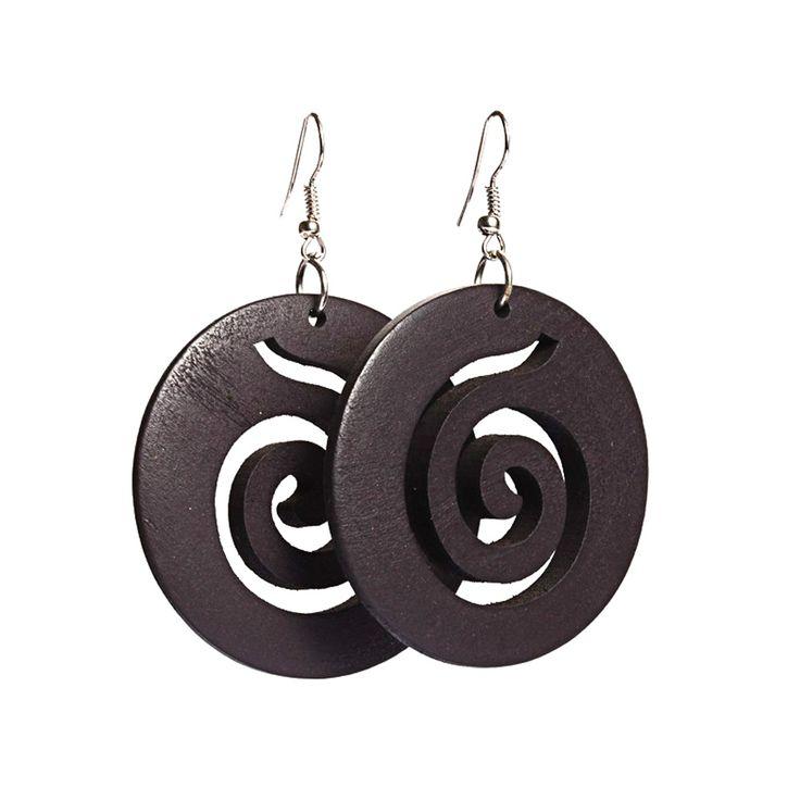 Black spiral cut out design wooden hoop drop earrings