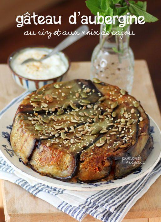 Gâteau d'aubergine au riz et aux noix de cajou: Lebanese upside down cake, with eggplant, rice and cashew nuts.