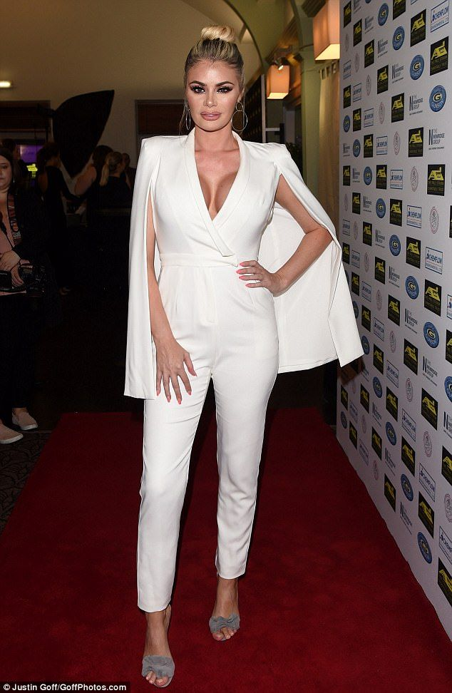 House of Ollichon loves...A dream in cream! Chloe Sims sizzled at the Paul Strank Charity Gala at Bank of England Sports Club in London on Saturday as she put on a busty display in a plunging jumpsuit. #celebrity #fashion #jumpsuit