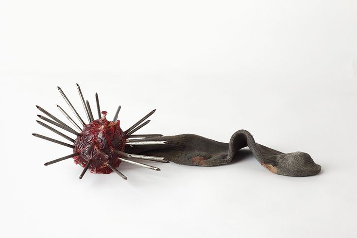 Harry Dodge, 'Emergency Weapon #21 (red with brown sock)', 2002, sock, dirt, urethane resin, nails. Image courtesy the artist and The Approach, London.