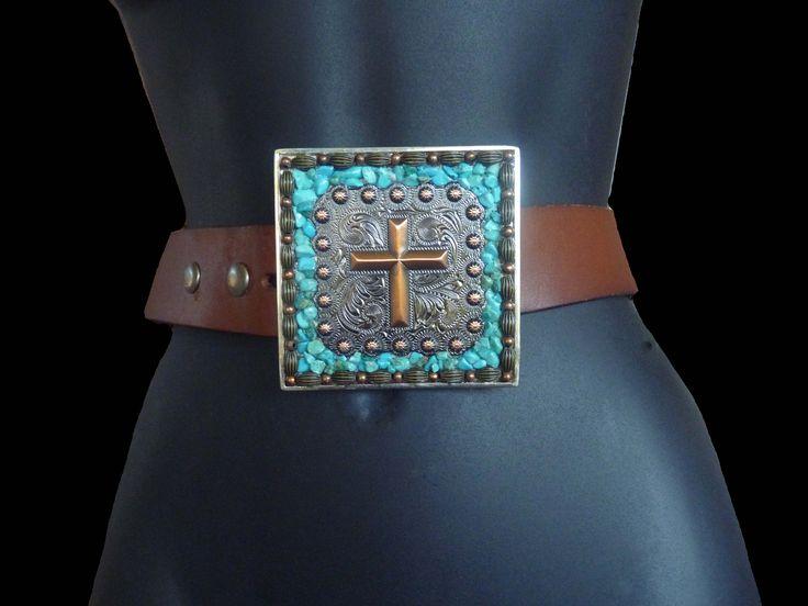 Concho Cross Western Belt Buckle, Turquoise Belt Buckle, Cross Belt Buckle, Cowgirl Belt Buckle, Cowboy Belt Buckle by KateSutcliffeMosaics on Etsy