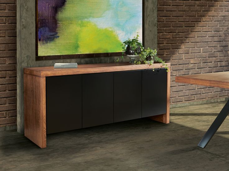 SYDNEY contemporary sideboard in solid oak wood and laquered doors