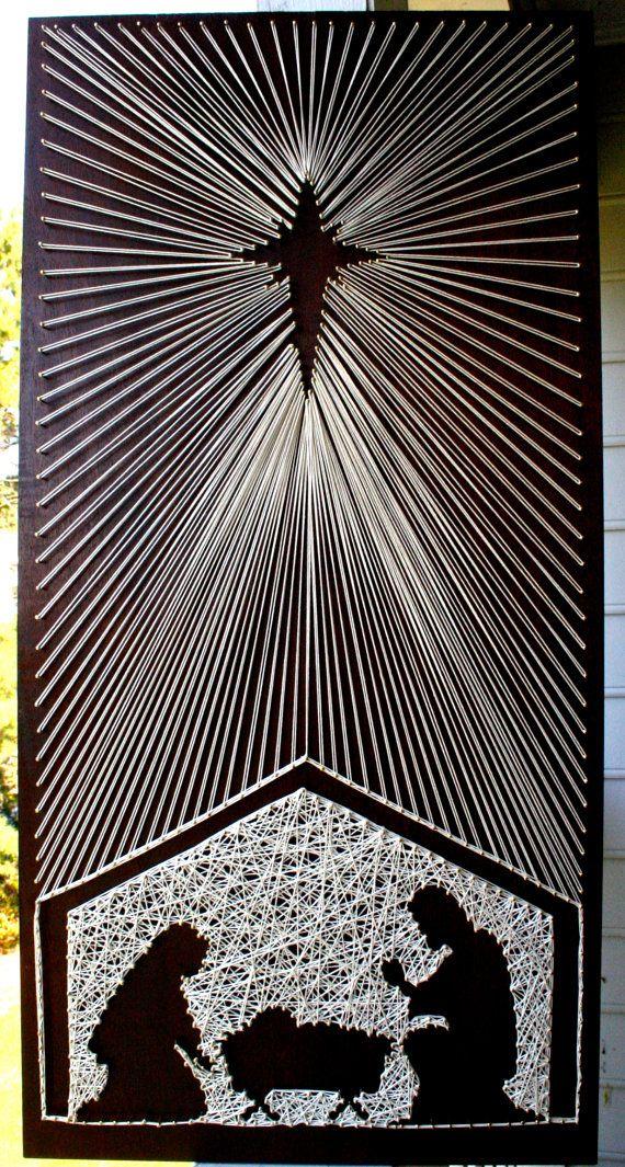 Weihnachtskrippe-String-Kunst Christmas String von DistantRealms