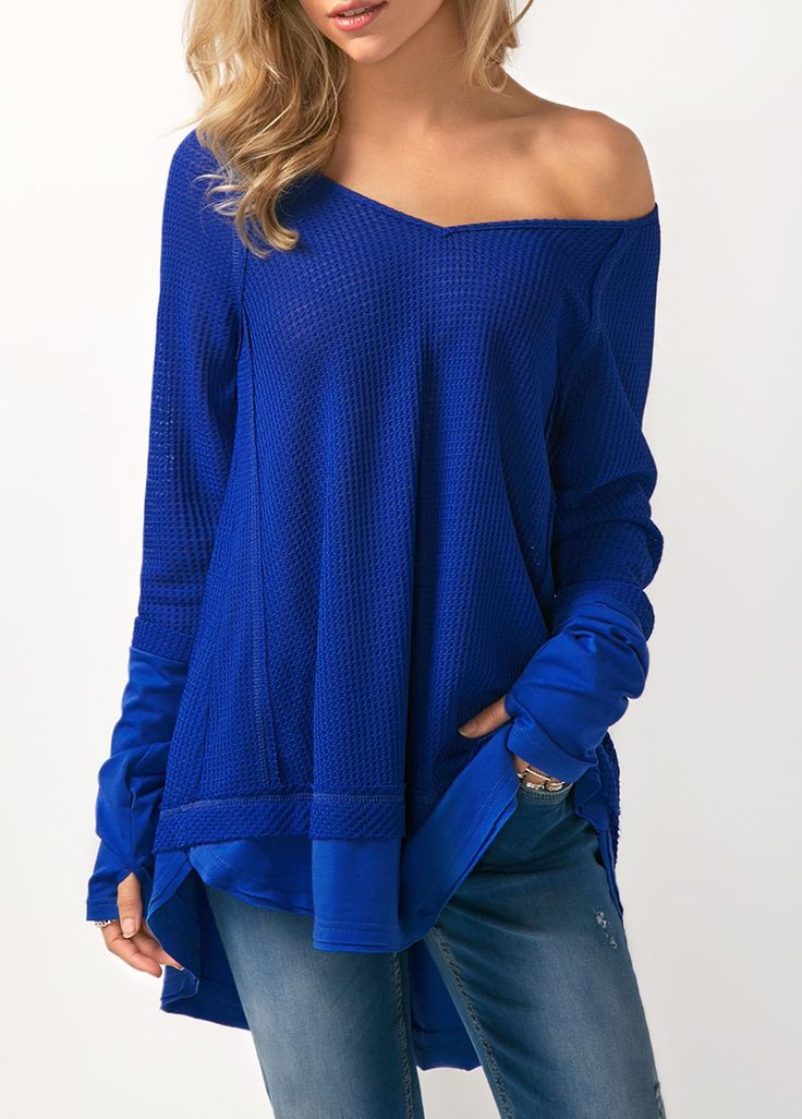 Glove Sleeve Skew Neck Patchwork Royal Blue Blouse on sale only US$30.16 now, buy cheap Glove Sleeve Skew Neck Patchwork Royal Blue Blouse at liligal.com #top #christmas #christmasgifts #womensfashion #shopping #fall #winter #liligal