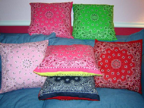 bandana pillows--going to make these for my reading corner couch at school