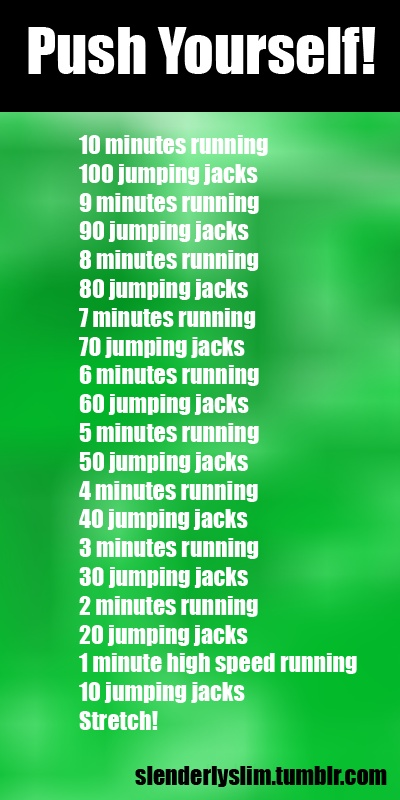 Modify: Squat jumps in place of jumping jacks, but only double the amt of jumps per mile. Example: 10 mins running, 20 squat jumps.