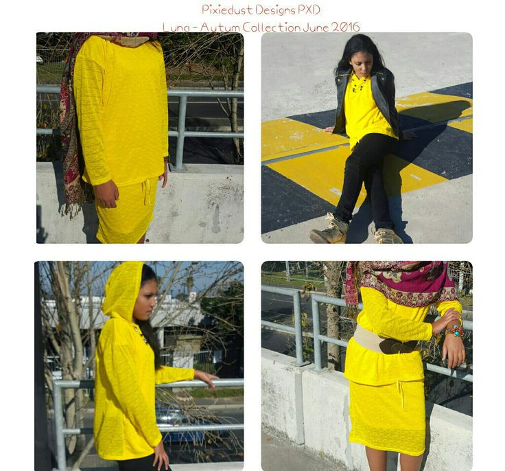 PIXIEDUST DESIGNS PXD - YELLOW KNITTED HOODY AND SKIRT