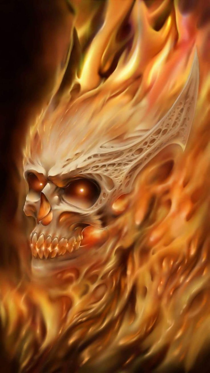 Beautiful Flaming Skull!