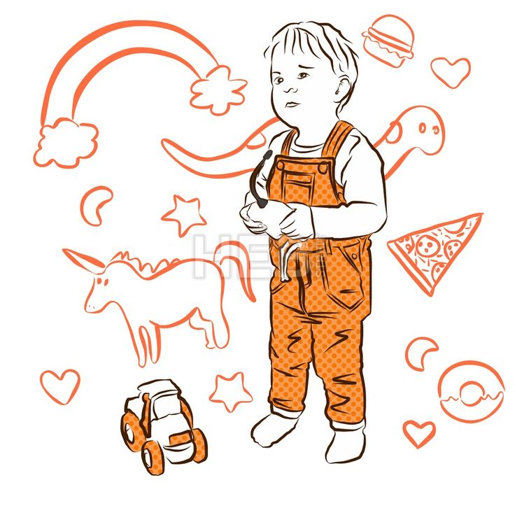 Cute Boy playing with Tractor, Doodles in Background by Hebstreits #stockimage #design
