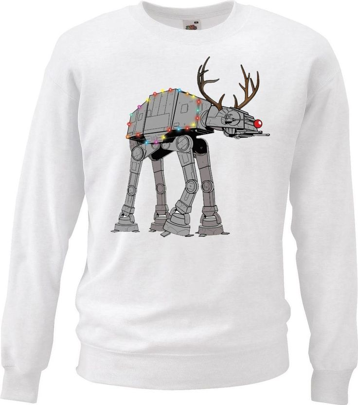 White Galaxy Wars Cheesy Sweatshirt AT AT Christmas Walker Star Master Jumper - Dragons Den Fancy Dress Limited
