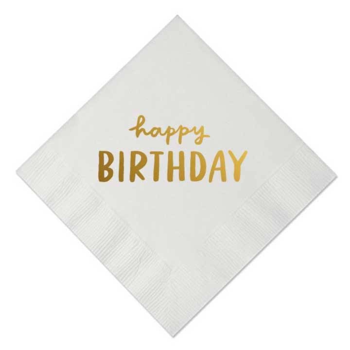 Happy Birthday Beverage Napkins, White with Gold