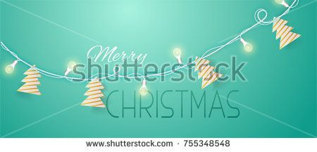 beautiful Christmas garland with lights and Christmas trees with paper. A realistic garland on a pretty popular background.?