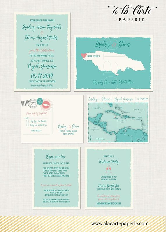 Jamaica Turquoise Map Beach Destination Wedding Invitation Set Caribbean Island