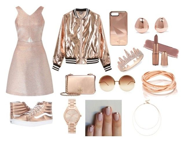 """""""Rose gold"""" by abeanfromouterspace on Polyvore featuring Miss Selfridge, Vans, Sans Souci, Tory Burch, Rebecca Minkoff, Michael Kors, Linda Farrow, Anne Sisteron, Monica Vinader and Sole Society"""