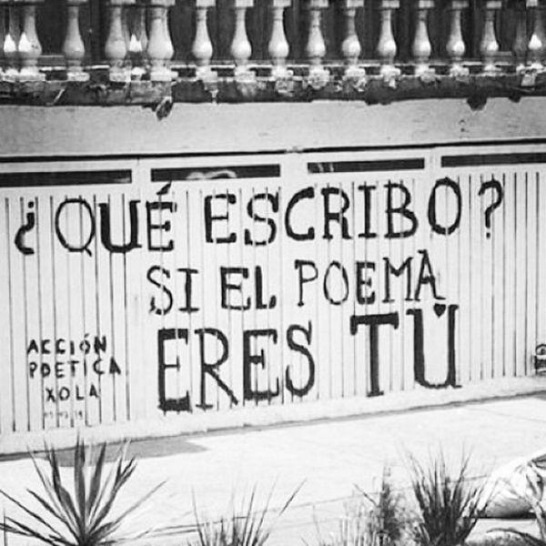 ¿Qué escribo si el poema eres tú? #AcciónPoéticaXola #streetart