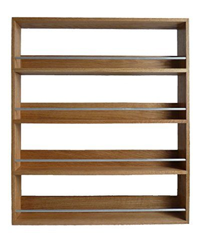 Kitchen Cabinets Ideas | SilverAppleWood Wooden Spice Rack Up To 44 Jar Capacity 4 Tier Wall Mountable Solid Oak *** You can find out more details at the link of the image. Note:It is Affiliate Link to Amazon.