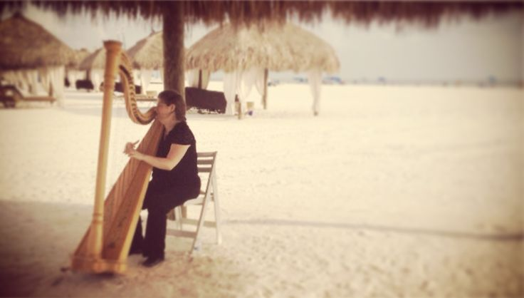 Wedding ceremony harp under the cabanas at Marco Island Marriott in Florida