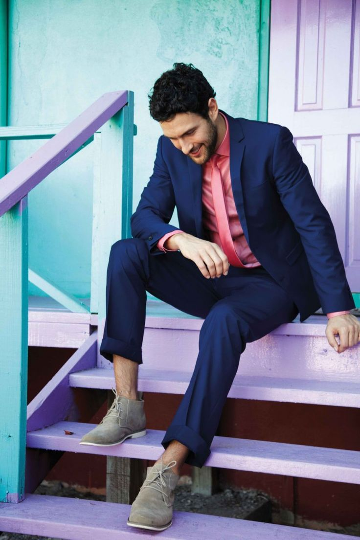 summer suitedCasual Shoes, Blue Suits, Colors, Deserts Boots, Men Style, Noah Mills, Men Fashion, Navy Suits, Men Wear