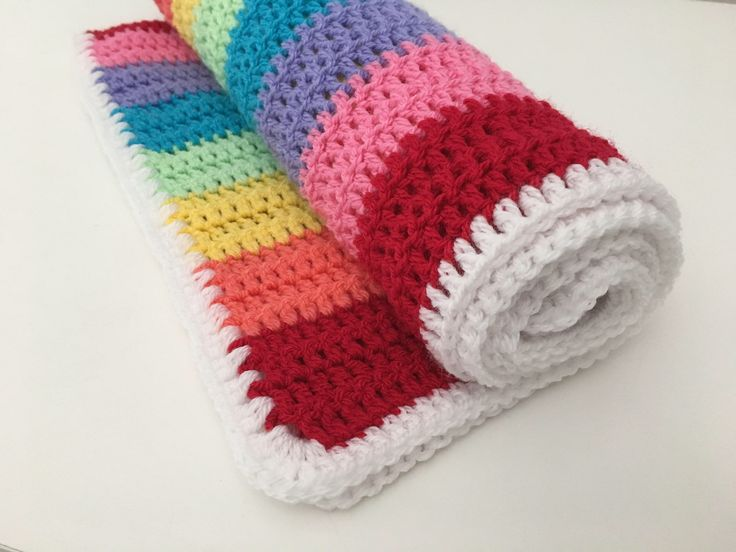 Rainbow Blanket/Baby/Crochet/bedding/throw/Baby shower/afghan/multicoloured/White/Crib/Moses basket/car seat/stroller/buggy/striped by StrawberryAndTink on Etsy https://www.etsy.com/uk/listing/531149283/rainbow