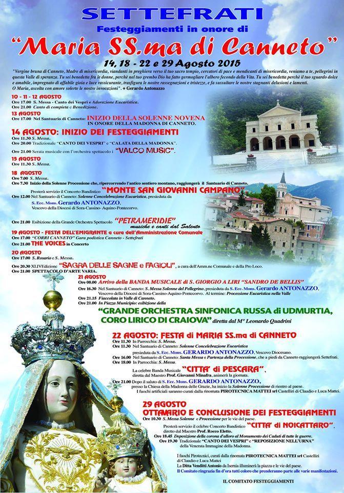 Festeggiamenti in onore di Santa Maria di Canneto...Settefrati...!!!