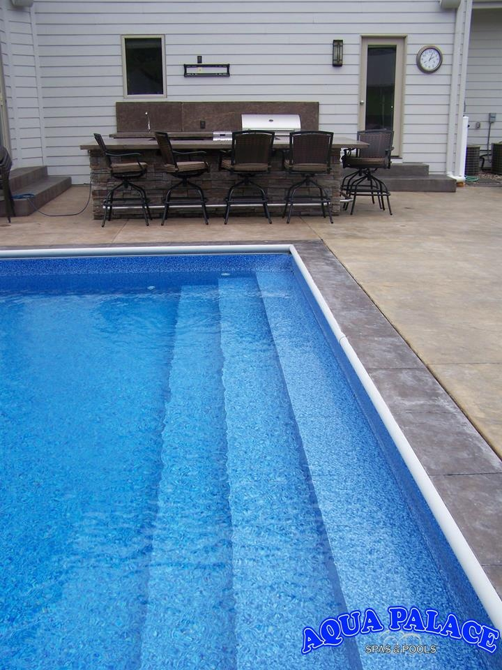 Custom Vinyl Liner Pool Length Entry Steps Aqua Palace 810 Woodbury Ave Council Bluffs