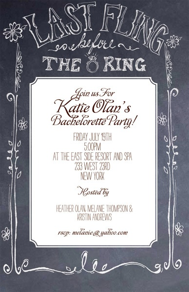Last Fling Before the Ring Chalkboard Invitation #bachelorette party