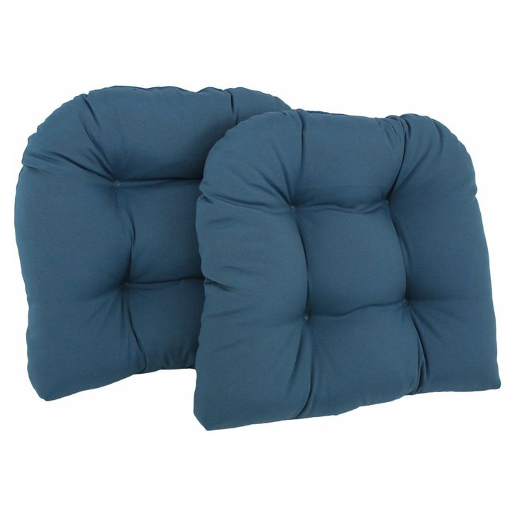 Blazing Needles Twill U-Shaped Indoor Chair Cushion - Set of 2 - 93184-2CH-TW-AB