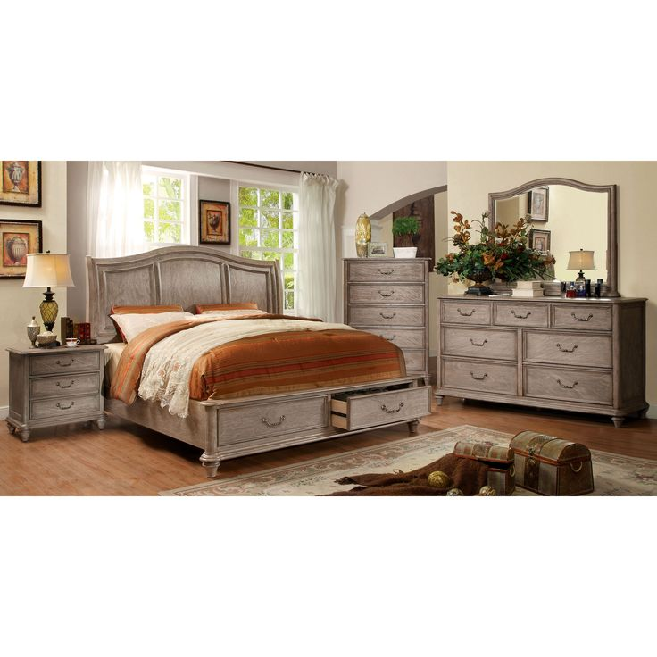 Furniture of America Minka III Rustic Grey 4-piece Bedroom Set (Cal. King), Size California King