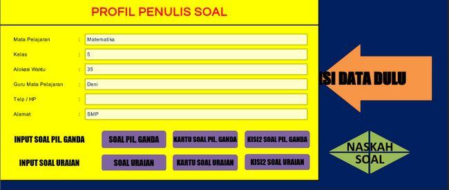 Download Aplikasi Pembuat Soal Ujian Pilihan Ganda Essay Format Excel dilengkapi Kartu Soal dan Kisi-Kisi Download Aplikasi Pembuat Soal Ujian Pilihan Ganda Essay Format Excel dilengkapi Kartu Soal dan Kisi-Kisi  [Informasi Sekolah] Aplikasi untuk membuat soal secara otomatis ini kiranya sangat berguna bagi rekan guru terutama dalam membuat soal yang berdasar ketentuan dari kisi-kisi yang daimbil dari kompetensi dan indikator yang tersedia tiap mata pelajaran pembuatan soal biasanya sering…