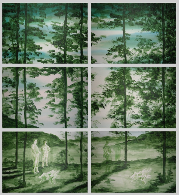 Pierluigi Pusole - Experiment serie b - 2011 - Acrilico e acquerello su tela - 150 x 140 cm