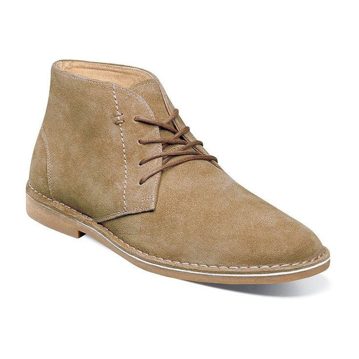 Nunn Bush Galloway Men's Suede Chukka Boots, Beig/Green (Beig/Khaki)