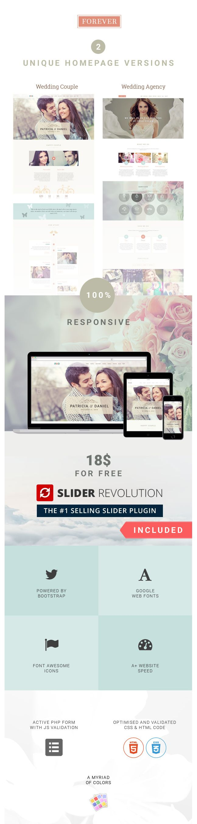 wedding invitation template themeforest%0A Forever responsive HTML  template ideally design for wedding planning  agencies also developed for event planners