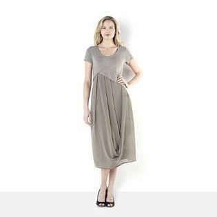 Ronen Chen Drape Detail Chiffon & Jersey Mix Dress