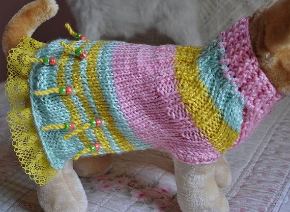 Dog Pet Sweater Dress Hand Knit Soft with Lace by ingridsfineart, $45.00