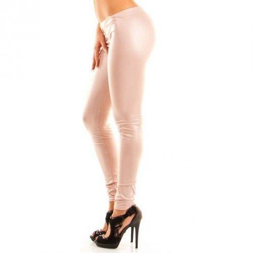 Chick Rebelle- Leggings Damen Lederoptik Matt Sie passen sich perfekt jeder Figur an. In schöner Matt-Optik.