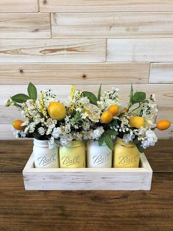 This Listing Is For Box Jars And Flowers Complete And Ready To Display Or Decorate Your Event Each Of Our Lemon Decor Summer Home Decor Lemon Kitchen Decor