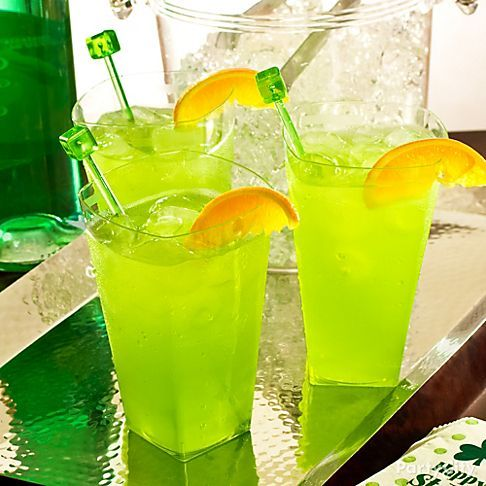 Sassy Leprechaun - Mix 1 oz. Midori with 2 oz. sweet and sour mix and 1 oz. lemon juice. Stir with perfectly green swizzle sticks, and garnish with a slice of orange.