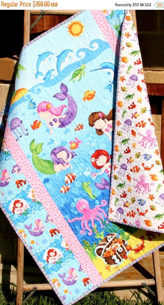 Little Mermaids, reversible, baby quilt, crib bedding blanket made with adorable mermaids in an ocean setting. This