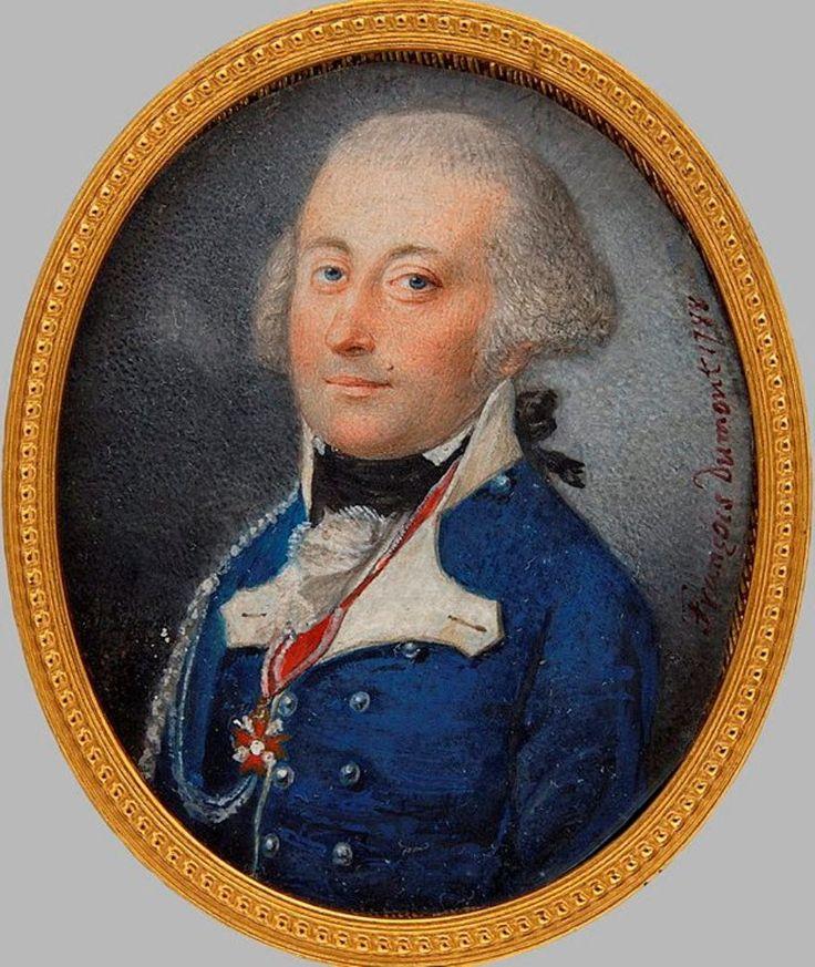 Portret Franciszka Sapiehy namalowany przez Françoisa Dumonta. Miniatura namalowana w 1788 roku we Francji.