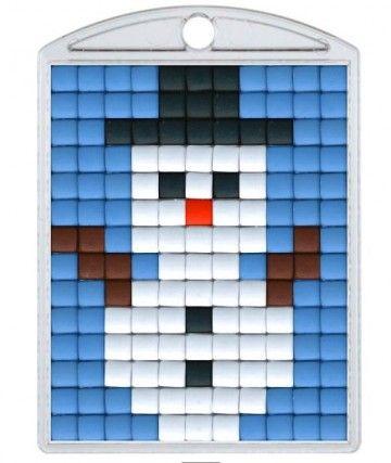 Knutselpakket Pixelhobby sleutelhanger sneeuwman