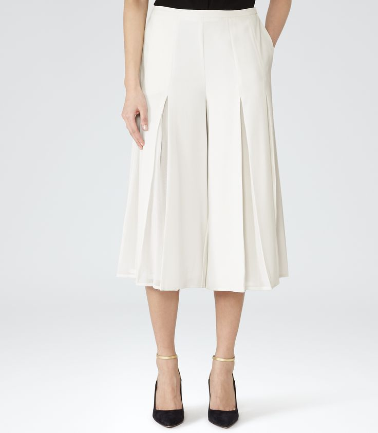 Womens Champagne Pleated Culottes - Reiss Zodiac